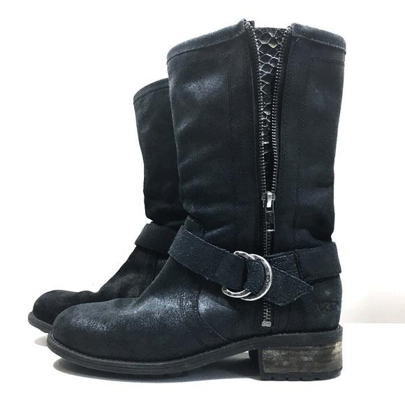 c3c42163c3a Ugg Silva Black Suede Side Zip Boots